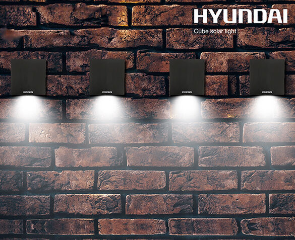 4-Pack Hyundai Kubus Buitenlampen op Zonne-energie