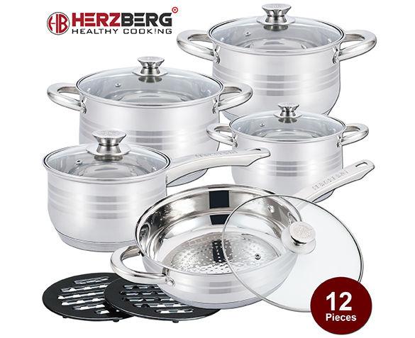 Herzberg 12-delige RVS Pannenset